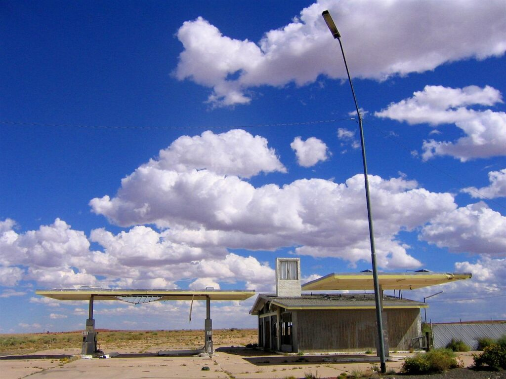 Abandoned Route 66 Gas Station Two Guns