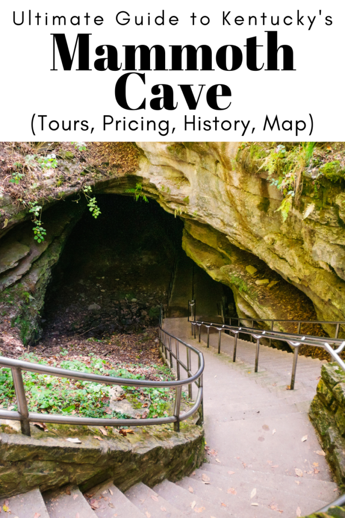 Ultimate Guide to Mammoth Cave, Kentucky (Tours, Pricing, History, Map) article cover image with entrance to cave